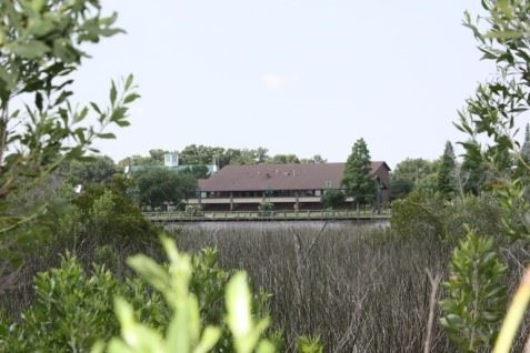 Image of the Riverfront Community Center from afar