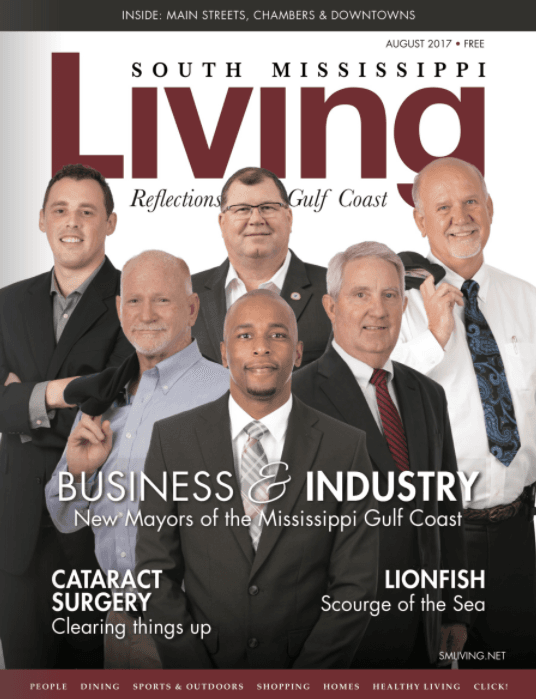 Mayor Mario King hits the front cover of South Mississippi Living Magazine. Aug. Edition